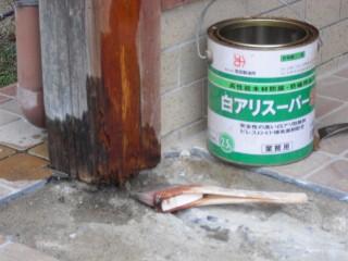 玄関サッシ取替え工事シロアリ